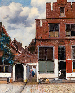 Jan Vermeer - View of Houses in Delft known as 'The little Street', Canvas Print