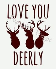 Stencil LOVE YOU DEERLY Deer Heads for Signs Entryways Canvas Pillows Walls