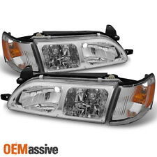 93-97 Toyota Corolla Chrome Headlights Pair + Amber Corner Signal Lamps 4pcs Set