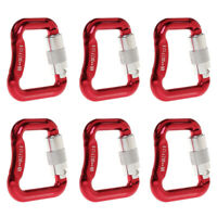 Set of 6 Aluminum Alloy Paraglider Paragliding Caribiners 20KN, Red