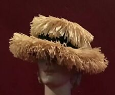 50's Vintage Straw Hat Raffia Beach And Black Ribbon Perfect Condiction