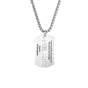 Mens Stainless Steel Philippians 4:13 Bible Verse Cross Dog Tag Pendant Necklace