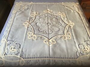 """Tablecloth. Machine Appliqué/cutwork. Polyester. From Germany. 86cm/34"""" Square"""