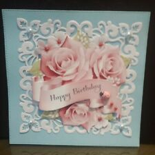 Handmade  Happy Birthday Flowers Card Topper / for 6 x 6 inch card