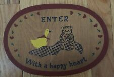 Enter with a Happy Heart Teddy Bear and Duck Wood Plaque Baby Room Decor Vintage