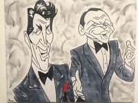 Rat Pack Frank Sinatra Dean Martin hand painted fan art signed canvas animation
