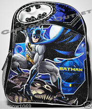 "BATMAN SCHOOL BACKPACK 16"" LOGO CANVAS TRAVEL BAG MESSENGER NWT DC COMICS"