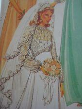 Vtg McCalls 7185 Priscilla SHEER BODICE WEDDING DRESS Sewing Pattern Women UNCUT