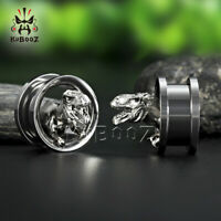 Stainless Steel Dinosaur Design Ear Plugs and Piercing Body Jewelry Ear Gauges