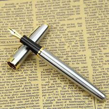 BAOER 388 Silver Business Metal Fountain Pen Nib Medium Gold Trim Arrow Clip HOT