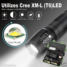 6000LM 5-mode X800 XM-L T6 LED Zoom Military Grade Tactical Flashlight Battery