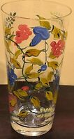 "Hand Painted Floral Standing  Glass Vase 9"" H 4.4"" W"