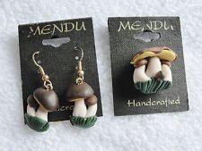 Estate Signed MENDU Mushroom Brooch & Earrings Made in Poland NOS BNIP c. 1970