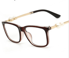 Fashion Women Brown Eyeglass Frames with Pearl in temple Glasses Frames brown RX