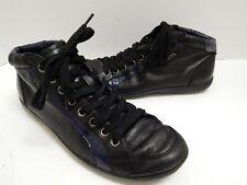 Prada Black Blue Leather Hi Top Sneakers 8.5 M