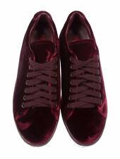 Prada Low Top Velvet Platform Sneaker Burgundy EU 38.5, US 8.5 Style 3E6198