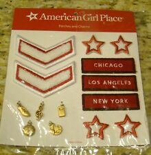 NEW AMERICAN GIRL PLACE PATCHES AND CHARMS SET CHICAGO LOS ANGELES NEW YORK STAR