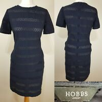 HOBBS Navy Blue Crochet Pencil Shift Dress Wedding Guest Occasion Size 10