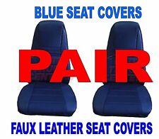 Truck Seat Covers w/Pocket - BLUE Faux Leather (PAIR) PB KW FL Semi-Trucks