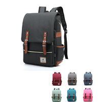 Vintage Men's Women's Canvas Leather Travel Backpack Hiking Rucksack School Bag