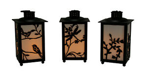 Scratch & Dent Black Outdoor FireGlow LED Lanterns with Timer Feature Set of 3