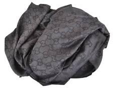 New Gucci 165903 XL Charcoal Grey Wool Silk GG Guccissima Logo Scarf Shawl Wrap