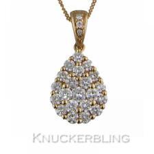 Diamond Pear Cluster Pendant 0.75ct F VS Brilliant Cut in 18ct Rose Gold & Chain