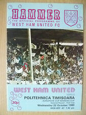 1980 Taza de ganador de la Copa Europea 1st pierna 2nd RD-West Ham Utd V equipo Politehnica Timisoara