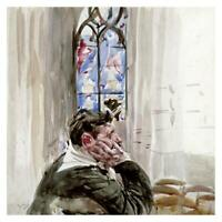 "Artworks Italia Portrait of a Man In Church-Paper Art-32""x32"""