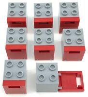 Lego 8 New Light Bluish Gray Container Box 2 x 2 x 2 with White Door Mail Slot