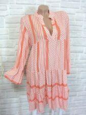 Hippie Blogger Hängerchen Kleid Tunika Volant Print 36 38 40 42 Lachs K131