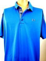 Under Armour Mens 2XL Loose Heat Gear Polo Golf Shirt Blue