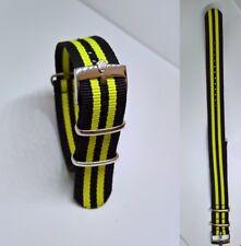20mm NATO BOND cinturino per orologio nero giallo con fibbia Rolex