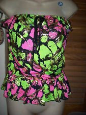 Voice~NWT's sz L Hot pink/Lime/black & gold bright  foiled floral tube top