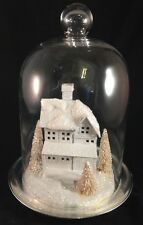 "Glass Dome Winter Christmas Scene House Display LARGE 13"" Bottle Brush Trees"