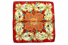 Battisti Pocket Square Ruby red with beige floral pattern, pure silk