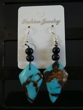 Empowering Jewelry Turquoise Sea Sediment Jasper Silver Plated Earrings Drop