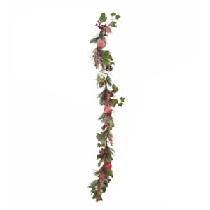 110cm Berry and Bauble Pine Garland with Snow