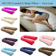 9 Ft / 12 Ft Comfort U Pillow Full Body Maternity Pregnancy Support + Free Case