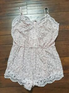 Large VS VICTORIA'S SECRET All-over Crochet Cover-Up Strappy Romper Pink NWT