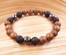 Bracelet en bois tibétain méditation mala prière homme femme lave onyx