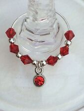 50 Wedding Red Crystal Wine Glass Charms. Favours, Party