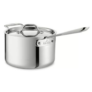 New All-Clad Stainless Steel 4 Quart Sauce Pan with Lid D3