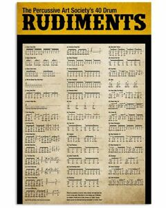 Drummer - Forty Drum Rudiments Wall Decor Poster No Frame