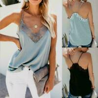 Women Lace Strappy Sleeveless Camisole Vest Tank Top Silk Cami Satin Effect T2B0