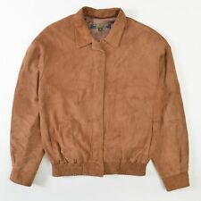 VTG Brooks Brothers Suede Leather Bomber Jacket Coat Brown Womens 10