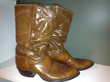 Vintage Tony Lama Western Cowboy Brown Leather Americana Boots Mens Size 10