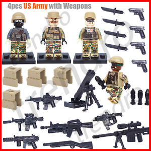 Army American Minifigure Custom WWII Military Soldier Weapons Figure For Lego