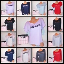 Victoria Secret Sleepwear T Shirt Logo Bling Top Long Short Sleeve Ruffle Tee