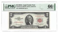 1953A $2 LEGAL TENDER, US NOTE, PMG GEM UNCIRCULATED 66 EPQ BANKNOTE